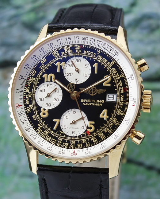 A BREITLING OLD NAVITIMER 18K YELLOW GOLD CHRONOGRAPH / K13022