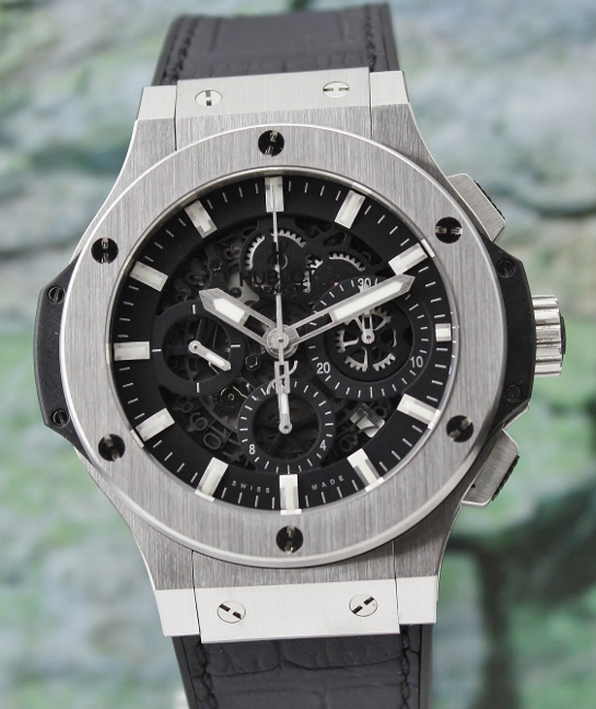 LIKE NEW HUBLOT BIG BANG SKELATON AUTOMATIC CHRONOGRAPH WATCH / 311.SX.1170.GR
