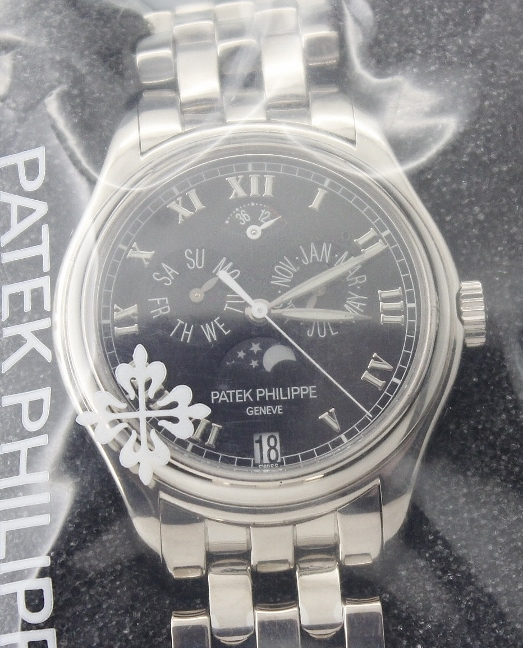 PATEK PHILIPPE 18K WHITE GOLD ANNUAL CALENDAR WITH MOON-PHASE DISPLAY / 5036G