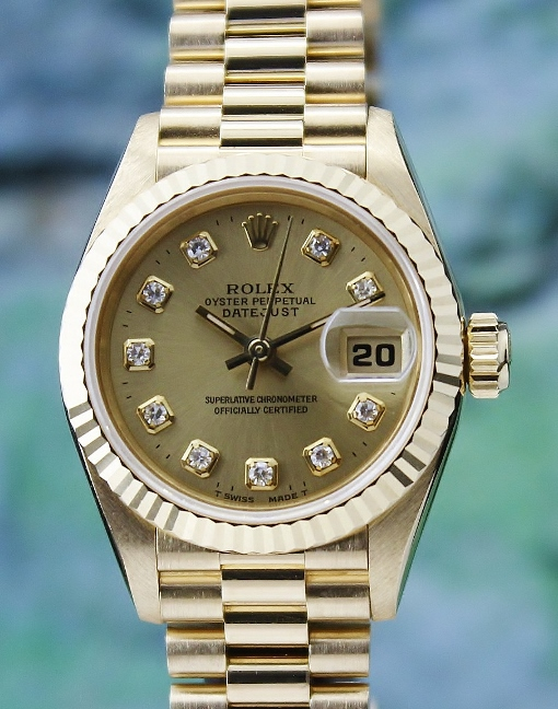 LIKE NEW ROLEX LADY 18K YELLOW GOLD OYSTER PERPETUAL DATEJUST - 69178