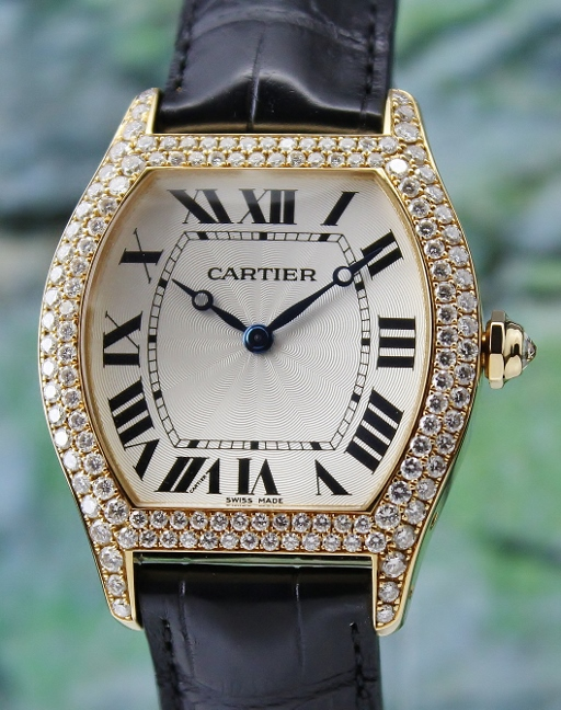 LIKE NEW 100% Original Cartier Tortue XL 18K Yellow Gold Manual Winding Diamond Watch / WA503751