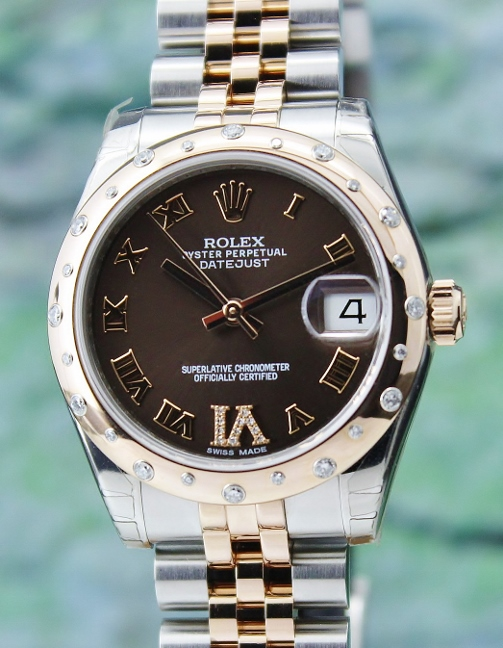 LIKE NEW UNPOLISHED ROLEX MID SIZE 18K PINK GOLD OYSTER PERPETUAL DATEJUST / 178341