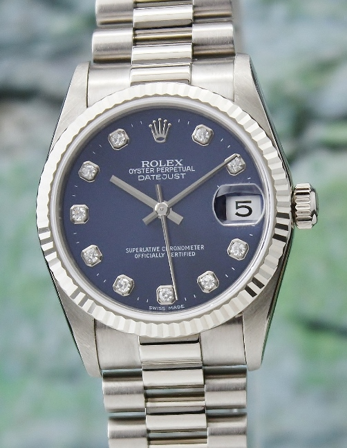 A ROLEX MIDSIZE 18K WHITE GOLD OYSTER PERPETUAL DATEJUST - 78279