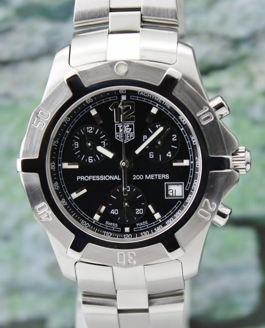 A TAG HEUER MEN SIZE STAINLESS STEEL CHRONOGRAPH WATCH / CN1110