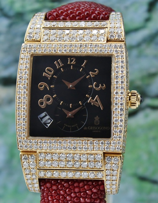 A 18K ROSE GOLD DE GRISOGONO DIAMOND WATCH