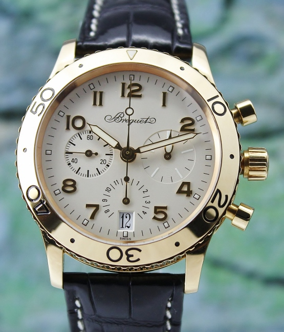 Breguet Type XX Transatlantique 18K Yellow Gold Chronograph Watch / 3820