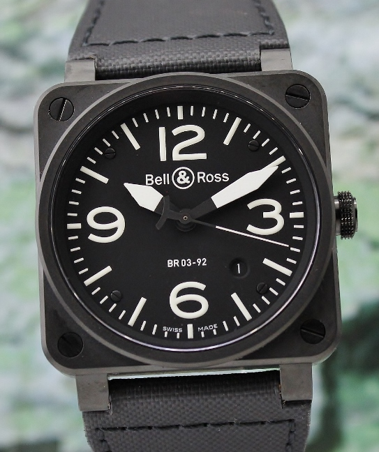 LIKE NEW BELL & ROSS STAINLESS STEEL PVD AUTOMATIC WATCH / BR03-92