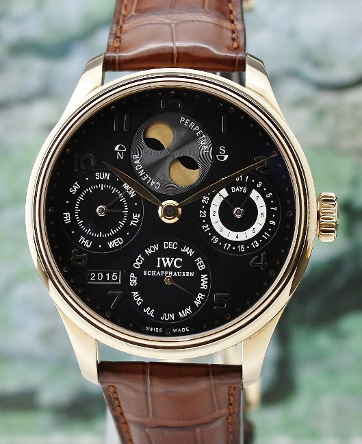 MINT UNPOLISHED IWC 18K Rose Gold Portuguese Perpetual Calendar Double Moon Phase / IW503202