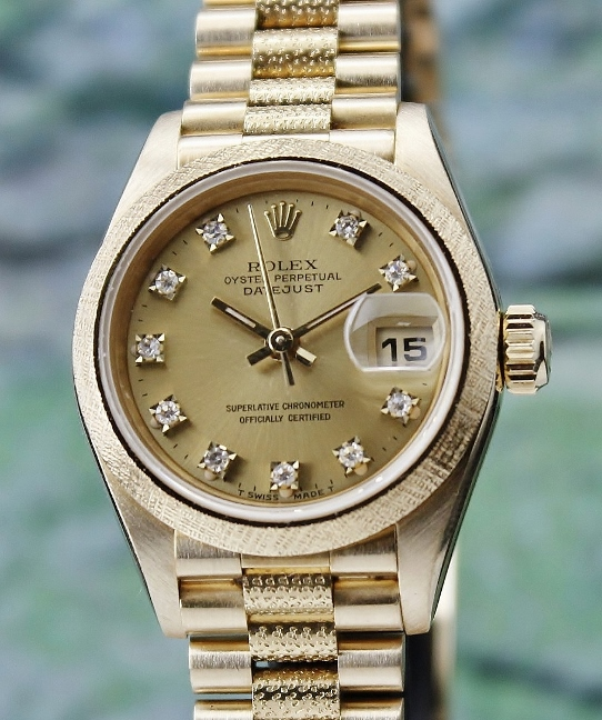 SUPER RARE 100% ORIGINAL ROLEX LADY SIZE 18K YELLOW GOLD OYSTER PERPETUAL DATEJUST - 69018