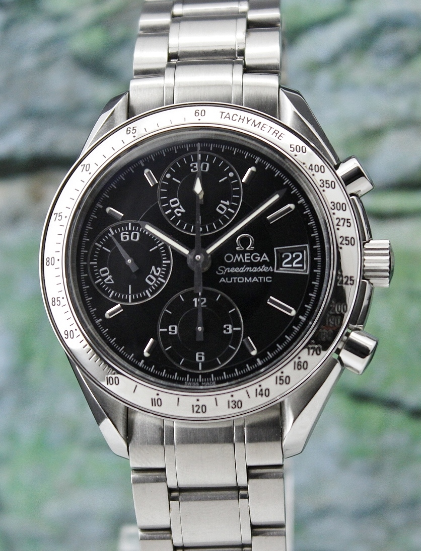AN OMEGA SPEEDMASTER AUTOMATIC CHRONOGRAPH DATE