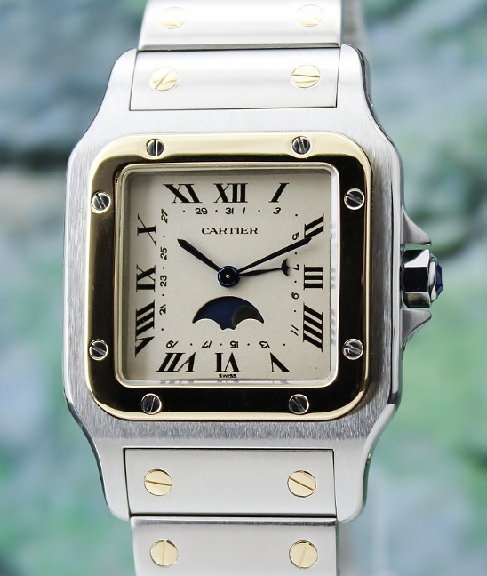 A CARTIER MEN SIZE 18K YELLOW GOLD & STEEL MOONPHASE SANTOS / 119901