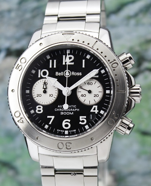 BELL & ROSS AUTOMATIC CHRONOGRAPH 300M DATE PANDA DIAL