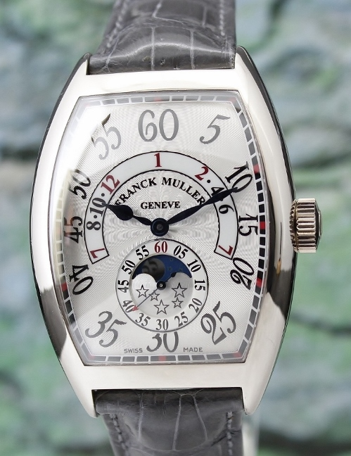 Franck Muller 18K White Retrograde Hour With Moon Phase / 8880 H IR L