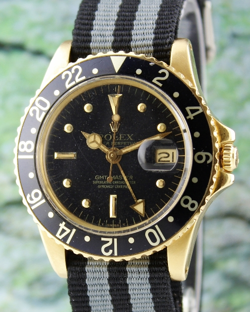 RARE ROLEX 18K GOLD VINTAGE OYSTER PERPETUAL DATE / GMT-MASTER - 1675