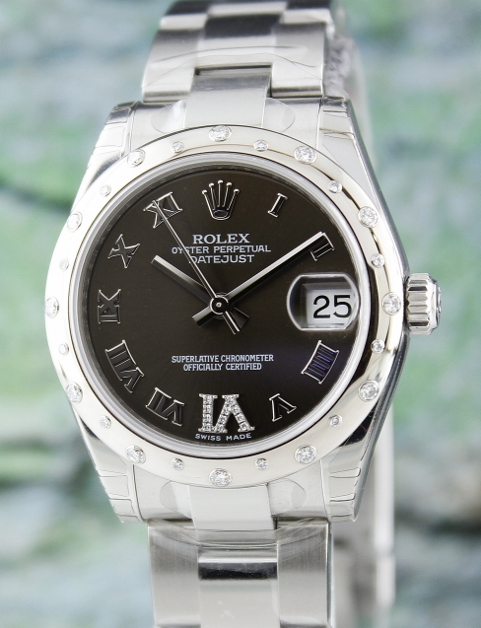 BRAND NEW ROLEX MID SIZE STEEL OYSTER PERPETUAL DATEJUST /178344