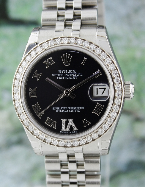 BRAND NEW ROLEX MID SIZE STEEL OYSTER PERPETUAL DATEJUST /178384
