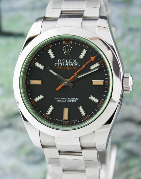 A Rolex Milgauss GREEN GLASS Black Dial / 116400 GV