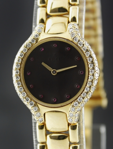 A Ebel Beluga 18K Yellow Gold Diamond Watch