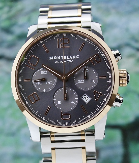 LIKE NEW MONT BLANC TIMEWALKER 43MM STAINLESS STEEL & 18K ROSE GOLD CHRONOGRAPH / 7141
