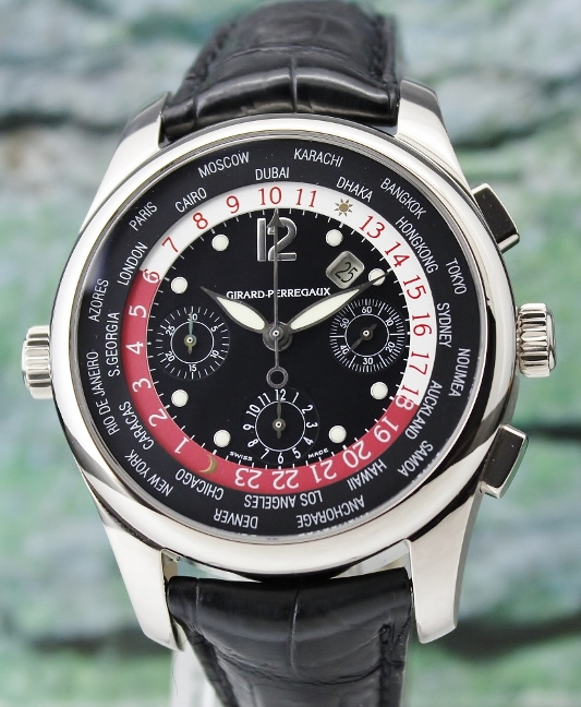 Girard Perregaux World Timer WW TC 18K White Gold Chronograph Automatic Watch / 4980