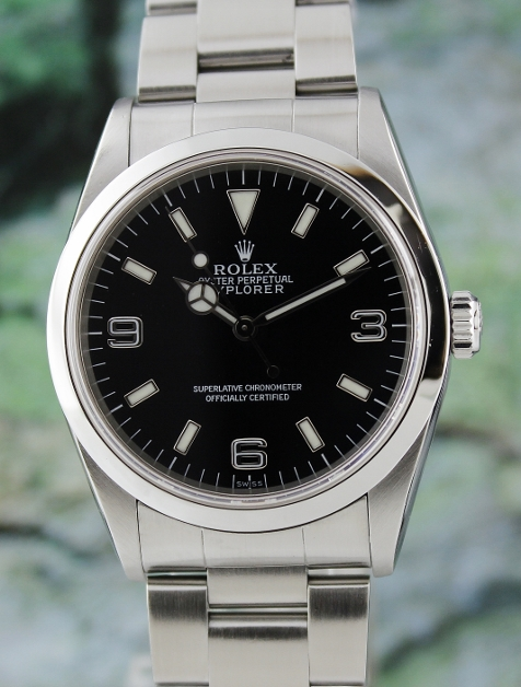 A ROLEX MEN SIZE STAINLESS STEEL OYSTER PERPETUAL EXPLORER / 14270