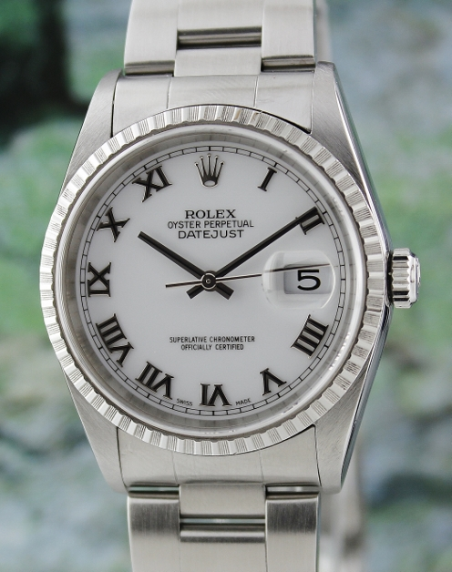 99.9% NEW UNPOLISHED ROLEX MEN SIZE OYSTER PERPETUAL DATEJUST / 16220