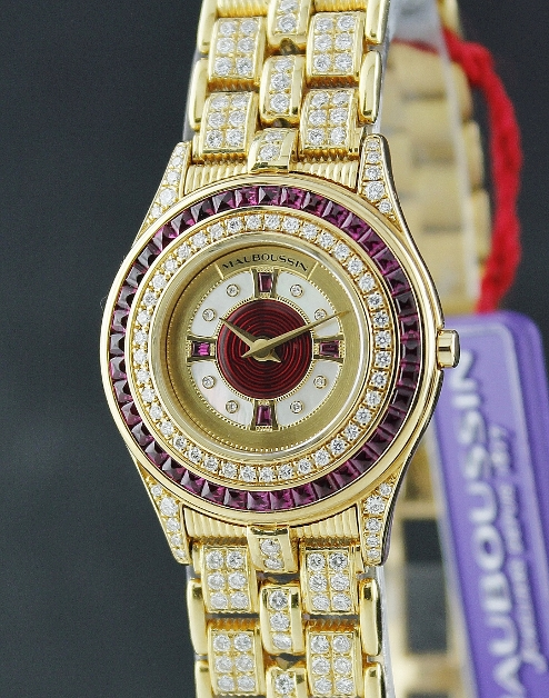 NEW UNWORN MAUBOUSSIN 18K YELLOW GOLD DIAMOND & RUBY WATCH