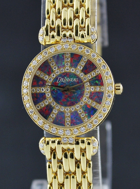 NEW UNWORN DELANEAU LADY 18K YELLOW GOLD DIAMOND WATCH