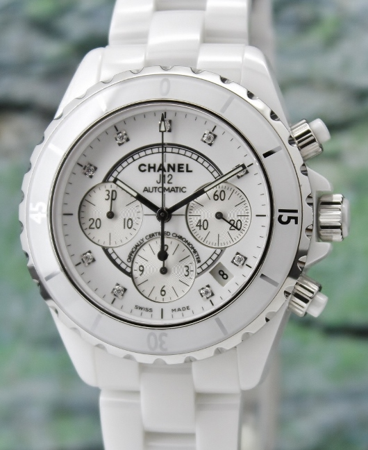 LIKE NEW CHANEL J12 41MM CERAMIC AUTOMATIC CHRONOGRAPH WATCH / H2009