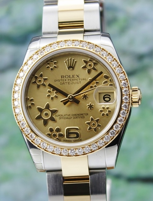 A ROLEX MID SIZE STAINLESS STEEL & 18K YELLOW GOLD OYSTER PERPETUAL DATEJUST / 178383