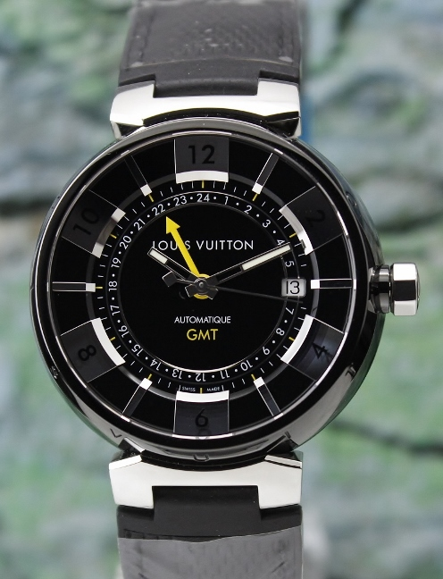 Like New Louis Vuitton Black Steel Tambour GMT Automatic Watch / Q113I0