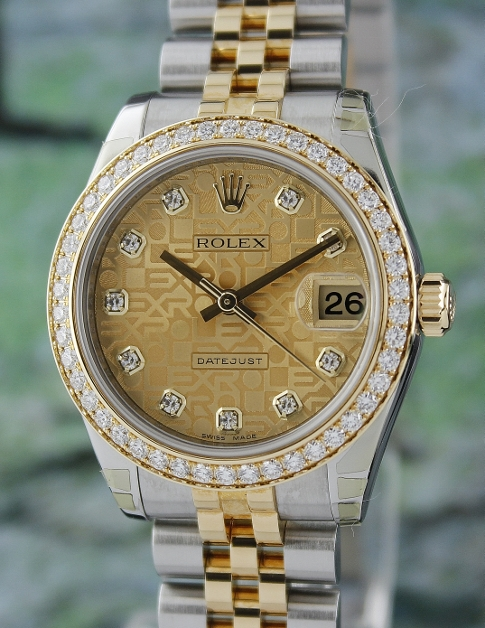 LIKE NEW ROLEX MID SIZE STEEL & GOLD OYSTER PERPETUAL DATEJUST /178383