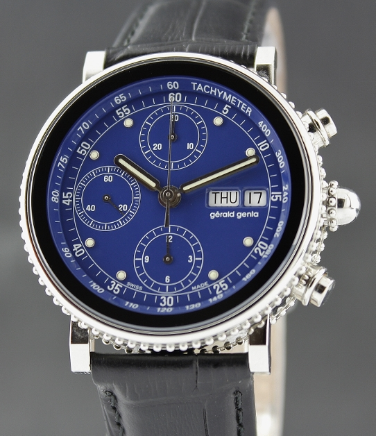 A GERALD GENTA STAINLESS STEEL GEFICA CHRONO DAY DATE