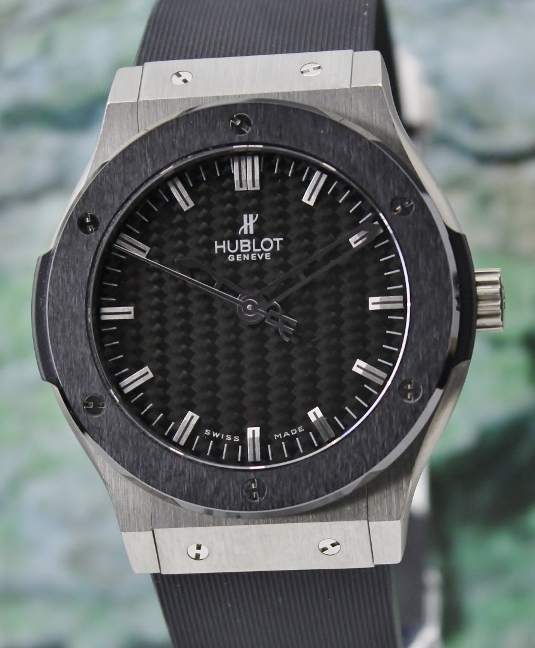 A HUBLOT 45MM CLASSIC FUSION ZIRCONIUM & CERAMIC WATCH / 501.ZM.1670.RX