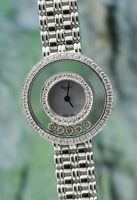 "A CHOPARD ""HAPPY DIAMOND"" 18K WHITE GOLD DIAMOND WATCH"