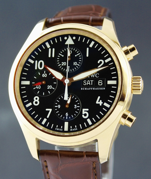 IWC 18K Pink Gold Pilots Chronograph Automatic Watch / IW371713