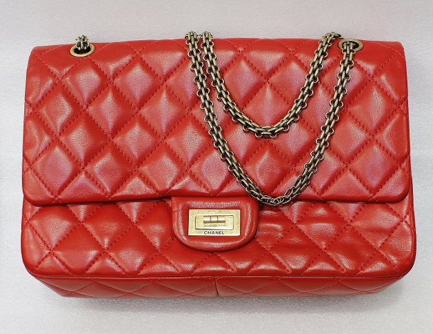 CHANEL LARGE REISSUE 227 RED MARBLE LEATHER HANDBAG