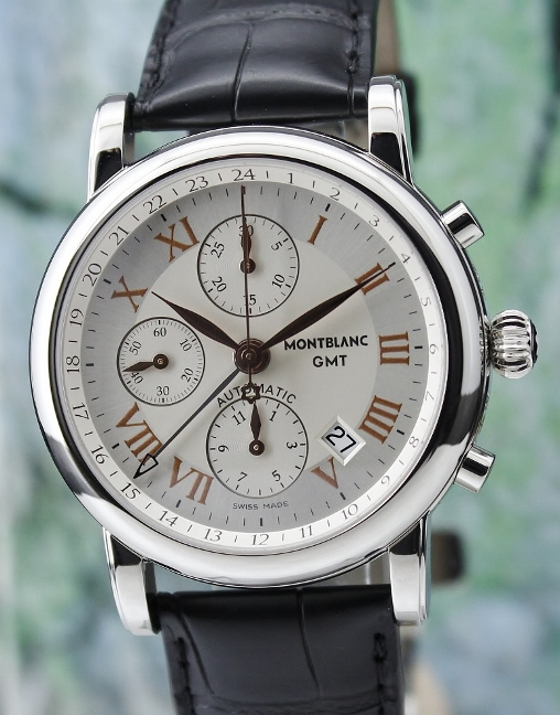 A MONTBLANC STAR CHRONOGRAPH GMT WATCH / 36967