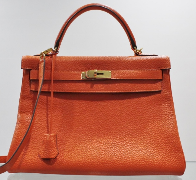 "Like New Hermes Orange 32cm Kelly Bag ""R"" Series"