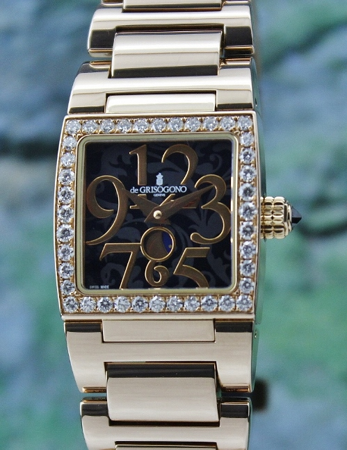 100% ORIGINAL 18K ROSE GOLD DE GRISOGONO DIAMOND WATCH
