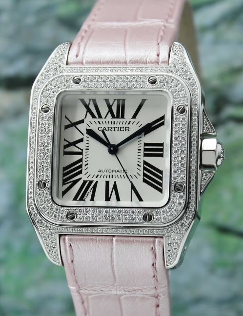 100% Original Cartier Santos 100 Medium Size In 18K White Gold Diamond Watch / 2881