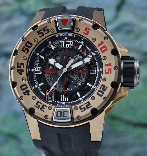 RICHARD MILLE 18K ROSE GOLD DIVER / RM28 - Click Image to Close