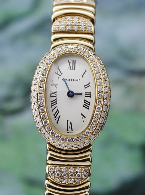 100% ORIGINAL CARTIER 18K YELLOW GOLD MINI BAIGNOIRE WATCH
