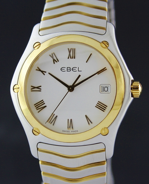 EBEL MEN SIZE STAINLESS STEEL & GOLD CLASSIC WATCH / NEW MODEL