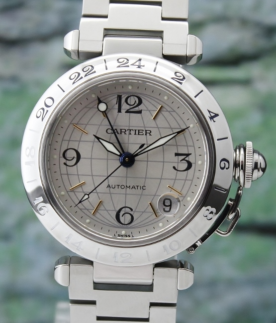 A CARTIER STAINLESS STEEL PASHA AUTOMATIC WATCH / 2475