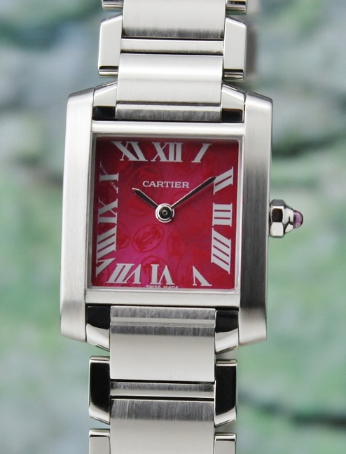 A CARTIER MID SIZE STAINLESS STEEL TANK FRANCAIS / 2384 / LIMITED EDITION
