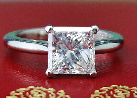 "AUTHENTIC CARTIER PT950 2.00 CARATS ""F"" COLOUR DIAMOND RING"