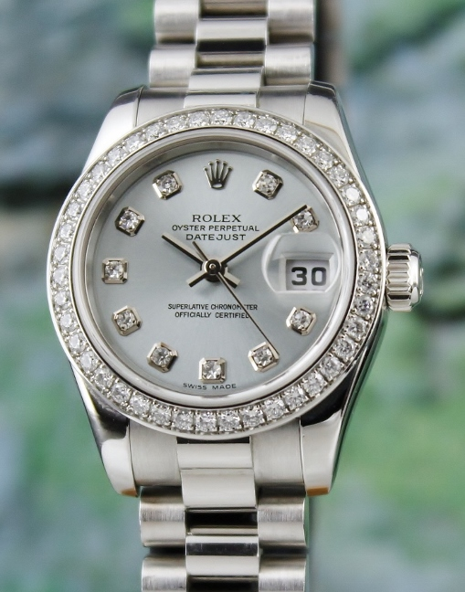 100% ORIGINAL ROLEX PT950 PLATINIUM LADY SIZE OYSTER PERPETUAL DATEJUST / 179136