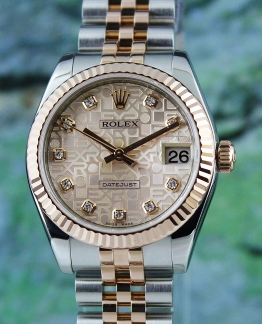A ROLEX MID SIZE 18K ROSE GOLD OYSTER PERPETUAL DATEJUST / 178271