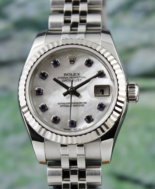 ROLEX UNPOLISHED LADY SIZE OYSTER PERPETUAL DATEJUST - MOP/ 179174 / CERT